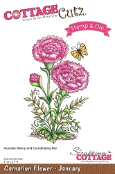 Cottage Cutz - Clear Stamp & Die Set - Carnation Flower January