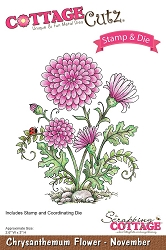 Cottage Cutz - Clear Stamp & Die Set - Chrysanthemum Flower November