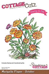 Cottage Cutz - Clear Stamp & Die Set - Marigolds Flower October