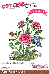 Cottage Cutz - Clear Stamp & Die Set - Rose Flower June