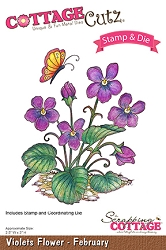 Cottage Cutz - Clear Stamp & Die Set - Violets Flower February