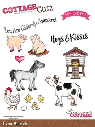 Cottage Cutz - Clear Stamp & Die Set - Farm Animals