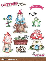 Cottage Cutz - Clear Stamp & Die Set - Garden Gnomes 1