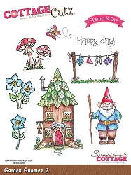 Cottage Cutz - Clear Stamp & Die Set - Garden Gnomes 2
