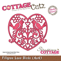 Cottage Cutz - 4x4 Dies - Filigree Love Birds