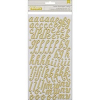 American Crafts - Acorn Avenue Collection - Thickers Chipboard Alphabet Stickers - Custard / Green