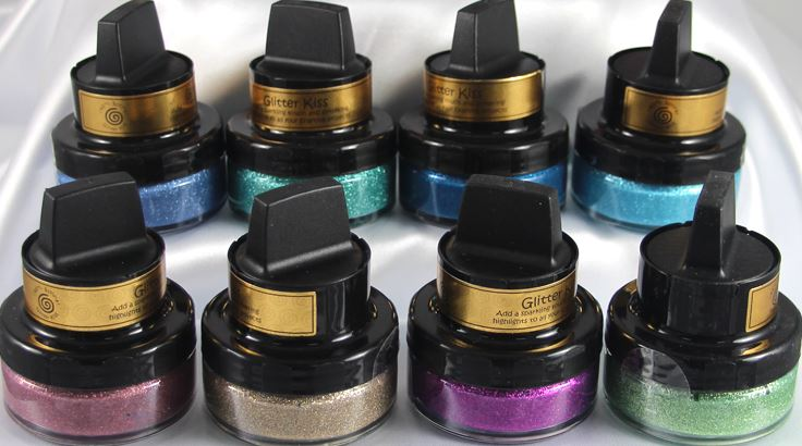Cosmic Shimmer products (Glitter Kiss, Gilding Polish, etc)