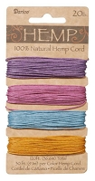 Darice-Hemp Cord-20# Pastel - (30 feet each of 4 colors)