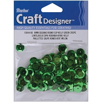 Darice - Sequins - 8mm - Kelly Green (approx. 200 pcs)