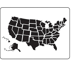 Darice Embossing Folder - (A2 Size) - US Map