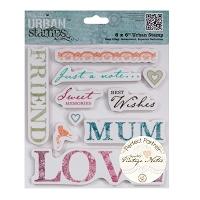 DoCrafts - Papermania Urban Cling Stamp - Vintage Notes - Sentiments