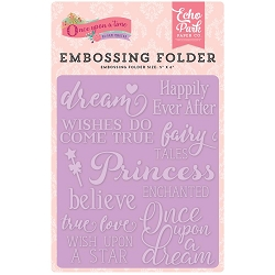 Echo Park - Embossing Folder - Once Upon A Time Princess - Fairytale Words