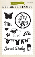 Echo Park - Bundle Of Joy A New Addition Collection - It's A Girl Clear Stamp Set