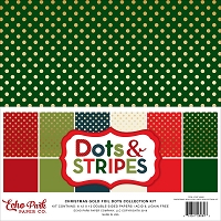 Echo Park - Dots & Stripes Collection - Christmas Gold Foil Dots Paper Pack