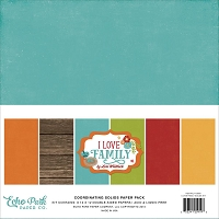 Echo Park - I Love Family Collection - Coordinating Distressed Solids Paper Pack