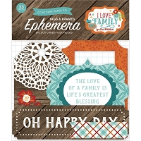 Echo Park - I Love Family Collection - Die Cut Tags & Frames Ephemera