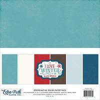Echo Park - I Love Winter Collection - Coordinating Distressed Solids Paper Pack