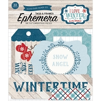 Echo Park - I Love Winter Collection - Die Cut Tags & Frames Ephemera