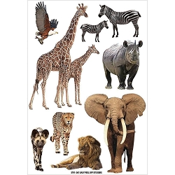 Fab Scraps - Call From The Wild Collection - African Wild Animals Clear Stickers