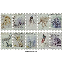 Fab Scraps - Call From The Wild Collection - Wild Animals Stamps Clear Stickers