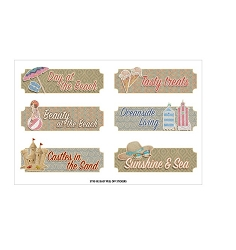 Fab Scraps - Summer Loving Collection - Beach Words Clear Stickers