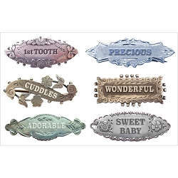 Fab Scraps - Sweet Baby Collection - Milestone Pins Clear Stickers