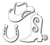 Frantic Stamper - Precision Dies - Cowboy Aceessories (Boot, Hat, Horseshoe)