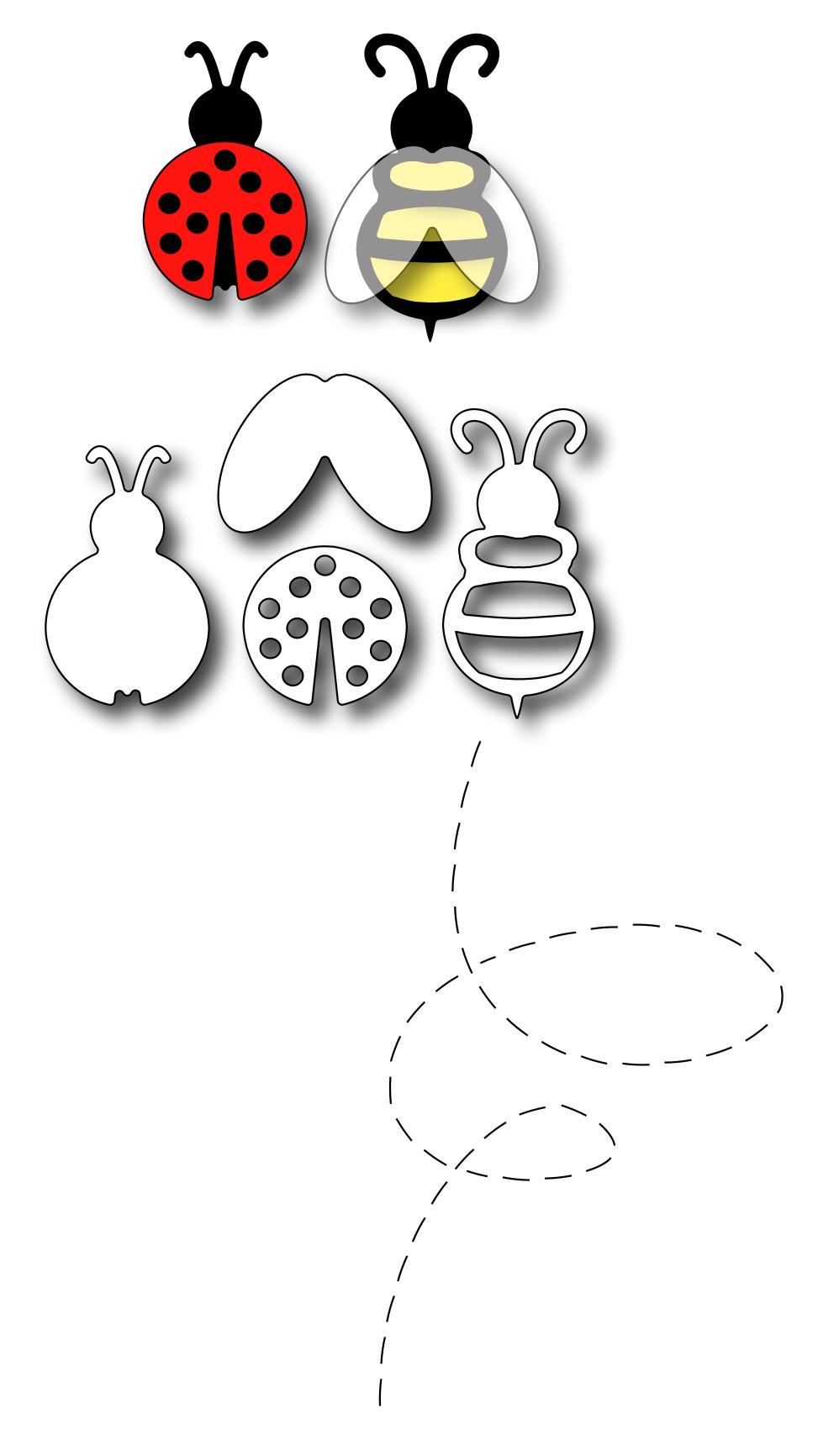 frantic stamper precision die lady bug and bee set of 5 dies