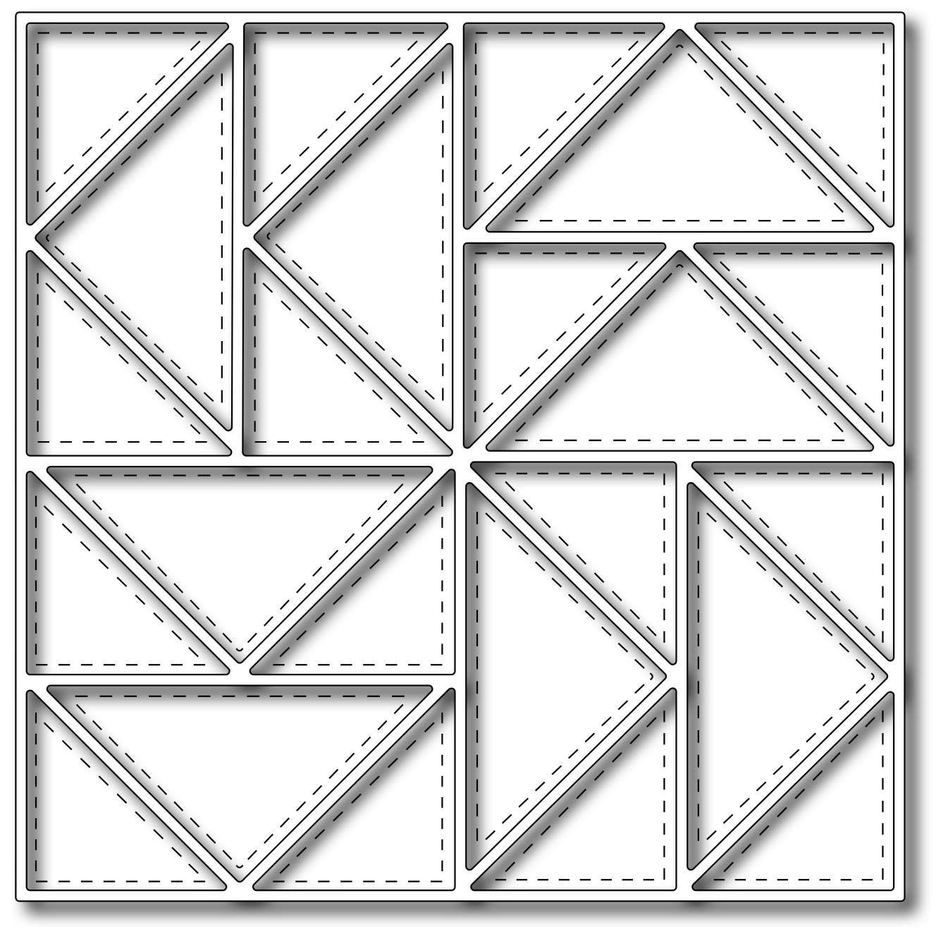 Frantic Stamper Precision Die - Flying Geese Quilt Square