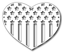 Frantic Stamper - Precision Dies - Patriotic Flag Heart