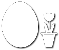 Frantic Stamper Precision Die - Solid Egg (with bonus Potted Tulip)