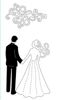 Frantic Stamper Cling-Mounted Rubber Stamp - Wedding Couple w/ Veil (set of 2 stamps)