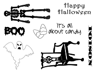 Frantic Stamper Un-Mounted Rubber Stamp - Happy Halloween