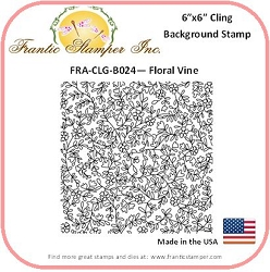Frantic Stamper - 6x6 Background Rubber Stamp - Floral Vines