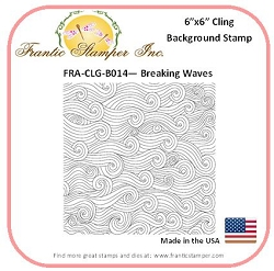 Frantic Stamper - 6x6 Background Rubber Stamp - Breaking Waves