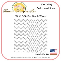 Frantic Stamper - 6x6 Background Rubber Stamp - Simple Waves