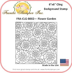 Frantic Stamper - 6x6 Background Rubber Stamp - Flower Garden
