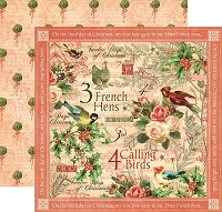 Graphic 45 - 12 Days of Christmas Collection - 12x12 Double Sided Paper - Calling Birds