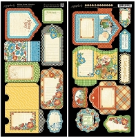 Graphic 45 - Mother Goose Collection - Die Cut Cardstock - Tags & Pockets