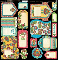 Graphic 45 - Bohemian Bazaar Collection - Die Cut Cardstock - Tags & Pockets