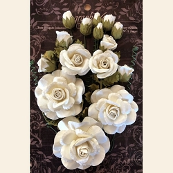 Graphic 45 - Staples - Rose Bouque Ivory Flowers
