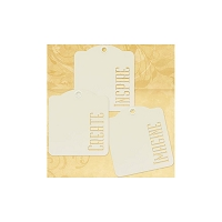 Graphic 45 - Staples - Die-Cut Cardstock Tags W/Metal Ring - Ivory Inspire Create Imagine - 9/Pkg