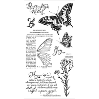 Graphic 45 - Nature Sketchbook Collection - Cling Stamps 1 Butterfly Kisses