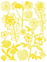 Hambly Studio Rub Ons - Flowers & Feathers - Yellow
