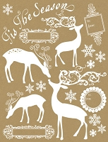 Hambly Studio Rub Ons - Holiday Deer - White