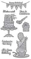 Hampton Art - Outlines  - Cling Mounted Stamp - Party Time