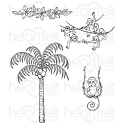 Heartfelt Creations - Monkeying Around Collection - Palm Trees and Monkeys Cling Stamp Set