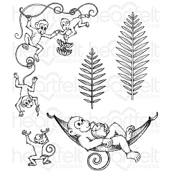Heartfelt Creations - Monkeying Around Collection - Monkeying Around Cling Stamp Set