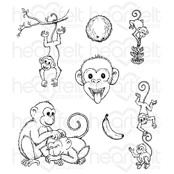 Heartfelt Creations - Monkeying Around Collection - Monkeying Antics Cling Stamp Set
