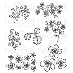 Heartfelt Creations - Wildwood Cottage Collection - Wildwood Florals Cling Stamp Set